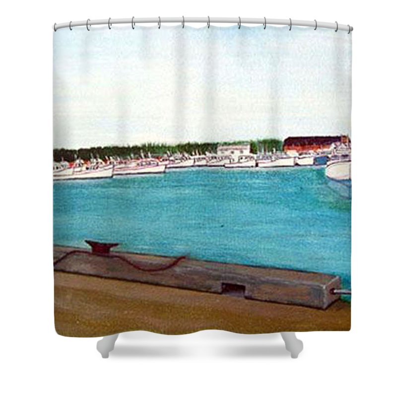 Naufrage Pei Shower Curtain featuring the painting Naufrage Harbour Pei by Richard Le Page