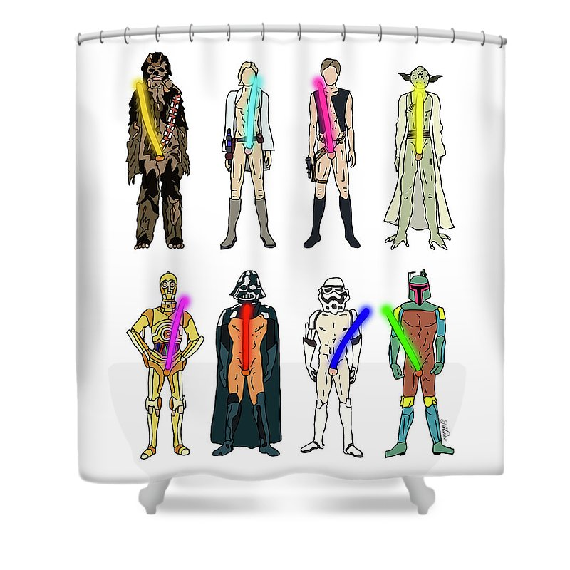 Starwars Shower Curtain featuring the drawing Naughty Lightsabers by Notsniw Art