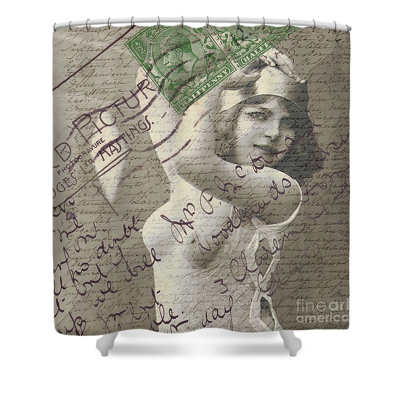 Naughty Vintage French Postcard Shower Curtain For Sale By Edward Fielding