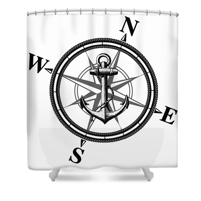 Anchor Shower Curtain featuring the digital art Nautica Bw by Nicklas Gustafsson