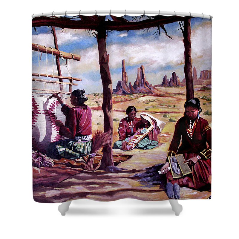 Native American Shower Curtain featuring the painting Navajo Weavers by Nancy Griswold