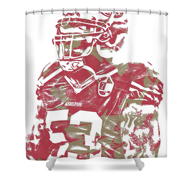 Navorro Bowman Shower Curtain Featuring The Mixed Media San Francisco 49ers Pixel Art 1