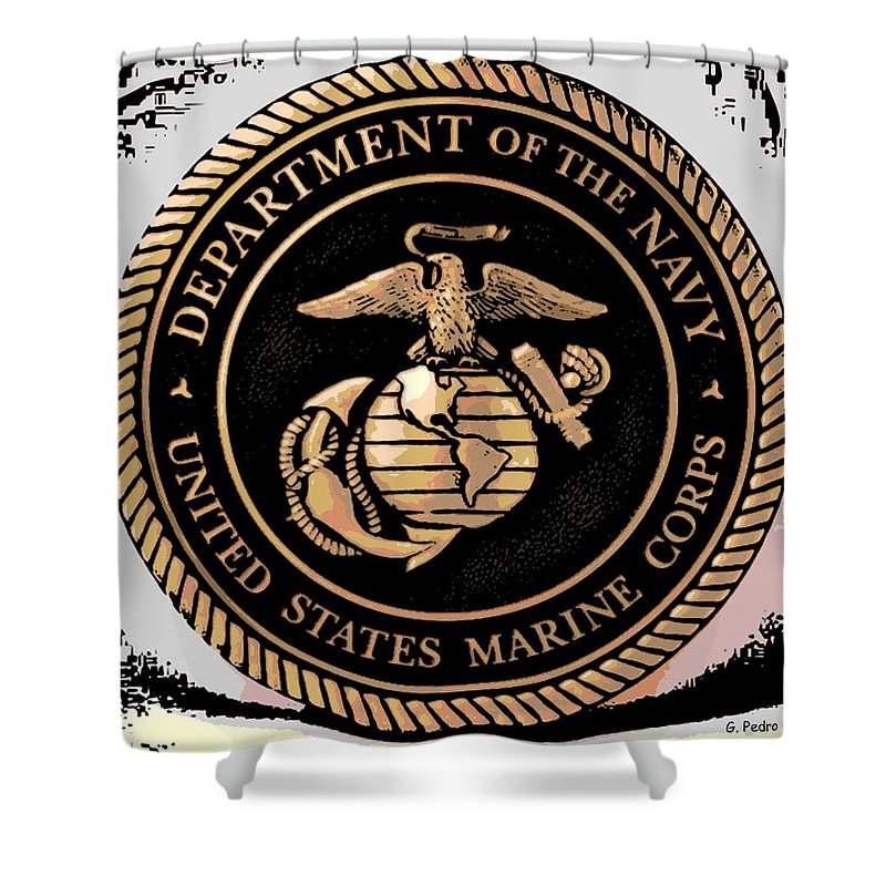 Department Shower Curtain featuring the digital art Navy Seal by George Pedro