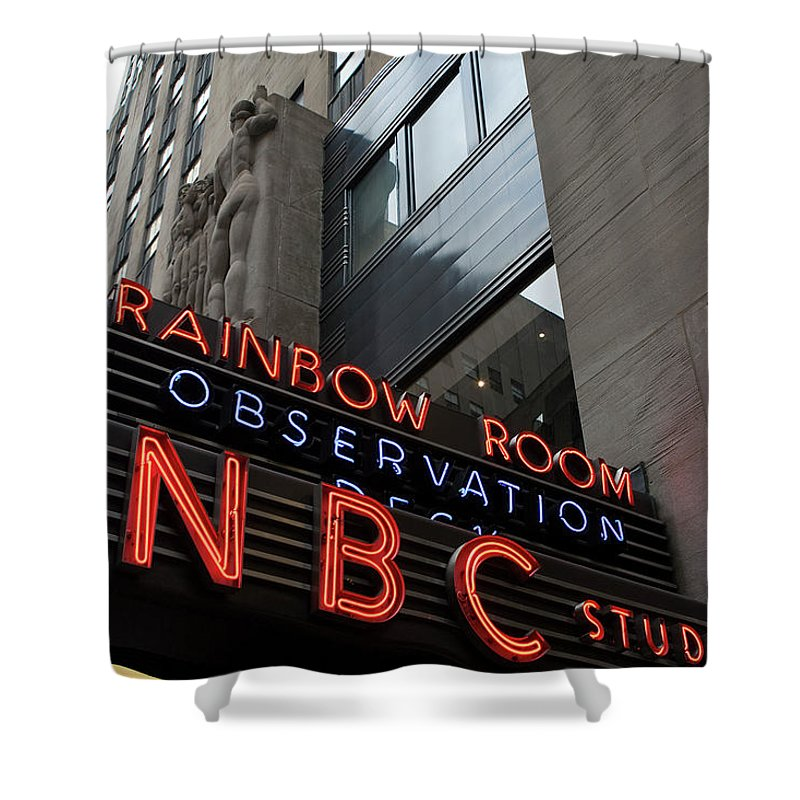 Iconic Sign Shower Curtain featuring the photograph Nbc Studio Rainbow Room Sign by Lorraine Devon Wilke