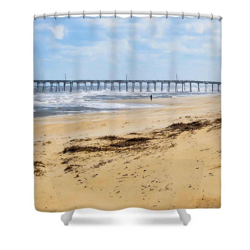 Nc Fishing Pier Shower Curtain featuring the painting Nc Fishing Pier 5 by Jeelan Clark