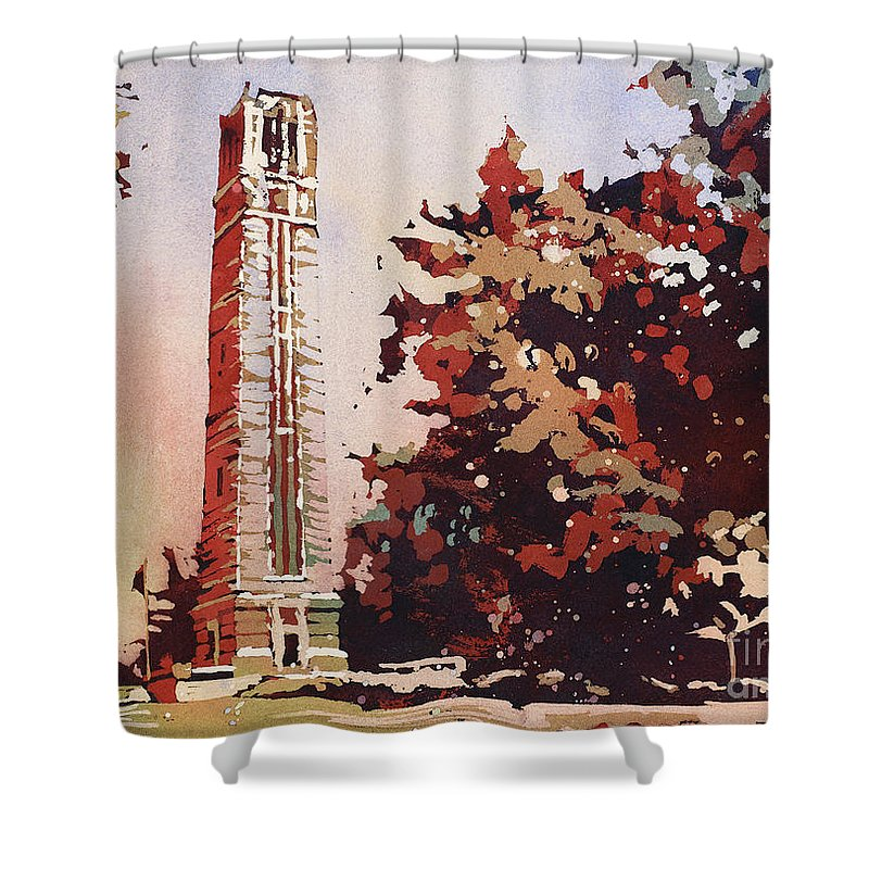 Art Of The Carolinas Shower Curtain featuring the painting Ncsu Bell-tower II by Ryan Fox