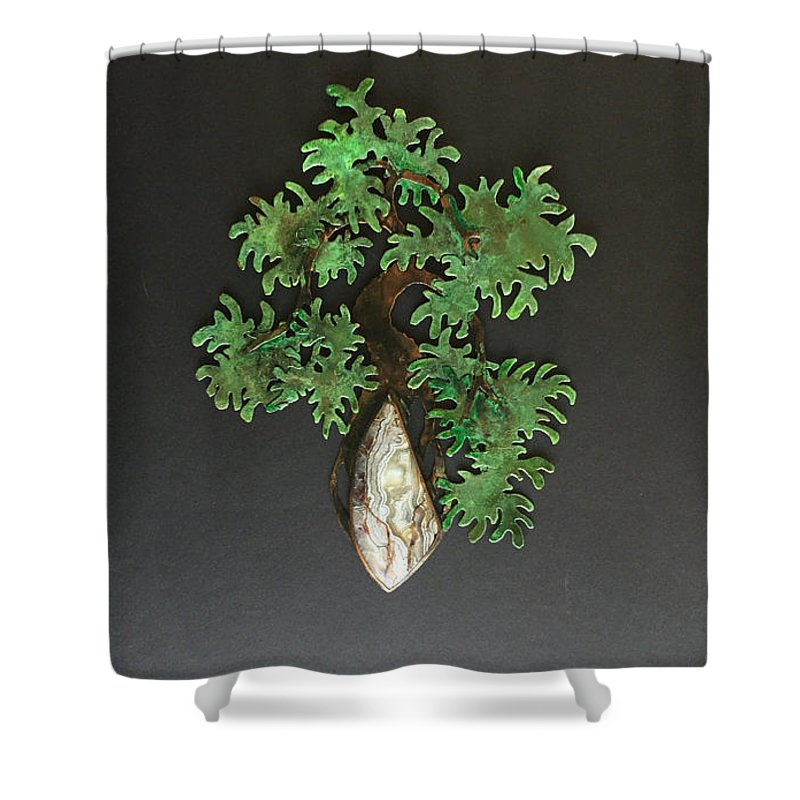 Art Collectibles Shower Curtain Featuring The Sculpture Neagari Cascade Bonsai With Crazy Lace Agate By