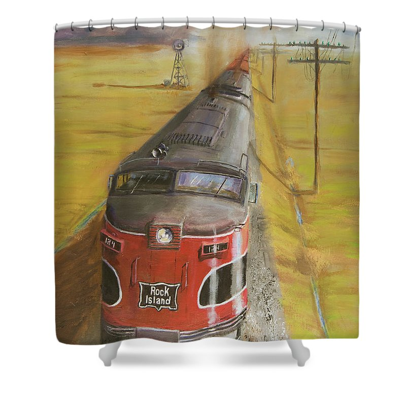 Train Shower Curtain featuring the painting Near Thistle Ks by Christopher Jenkins