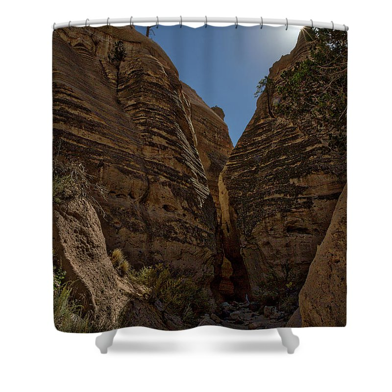 New Mexico Shower Curtain featuring the photograph Nearing The Slot Canyon - Tent Rocks by Stuart Litoff