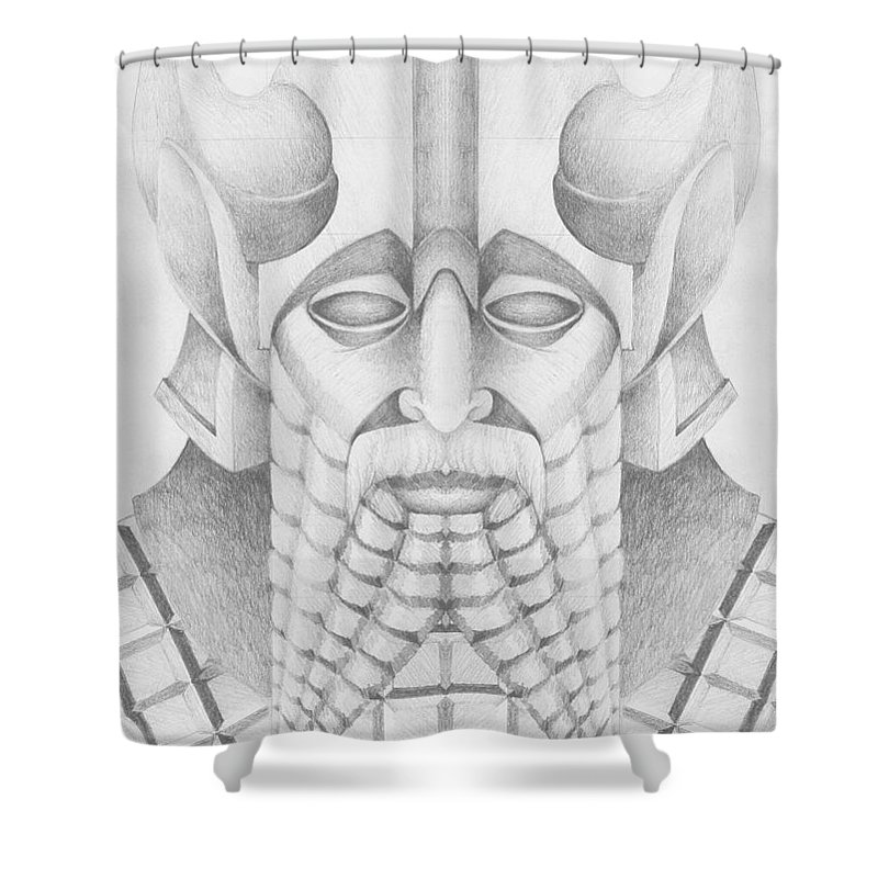 Babylonian Shower Curtain featuring the drawing Nebuchadezzar by Curtiss Shaffer