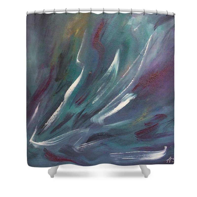 Acrylic Shower Curtain featuring the painting Nebula by Anita Burgermeister