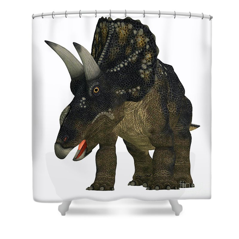 Nedoceratops Shower Curtain featuring the painting Nedoceratops On White by Corey Ford