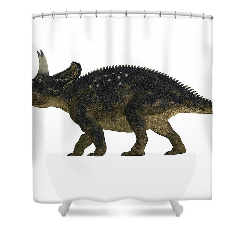 Nedoceratops Shower Curtain featuring the painting Nedoceratops Side Profile by Corey Ford
