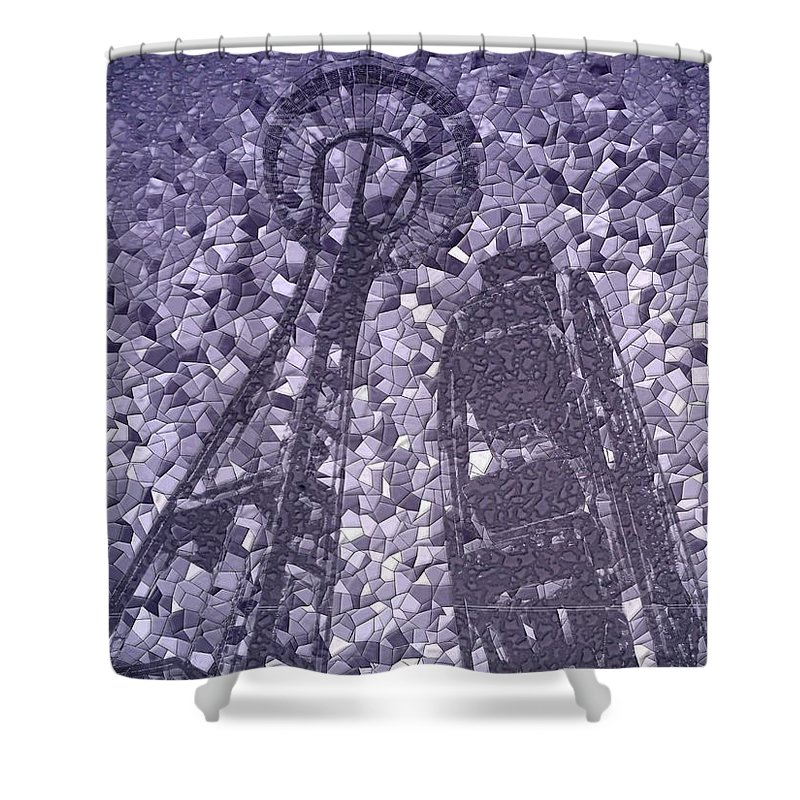 Seattle Shower Curtain featuring the photograph Needle And Ferris Wheel Mosaic by Tim Allen