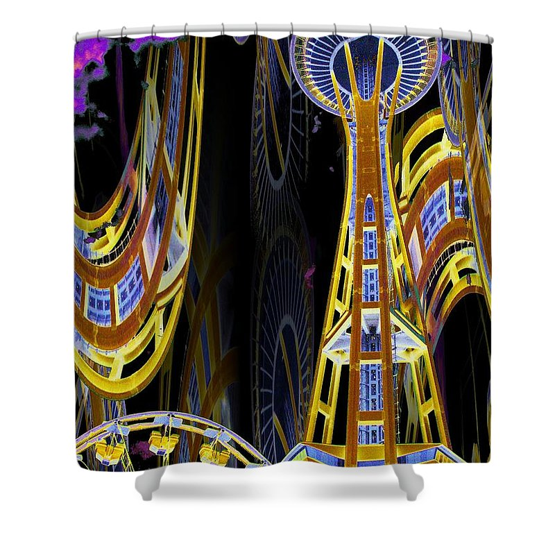 Seattle Shower Curtain featuring the digital art Needle And Ferris Wheel by Tim Allen