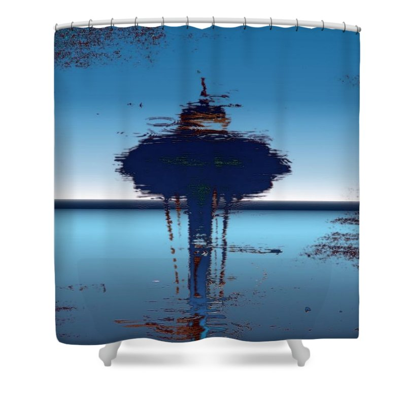 Seattle Shower Curtain featuring the digital art Needle In A Raindrop Stack 4 by Tim Allen