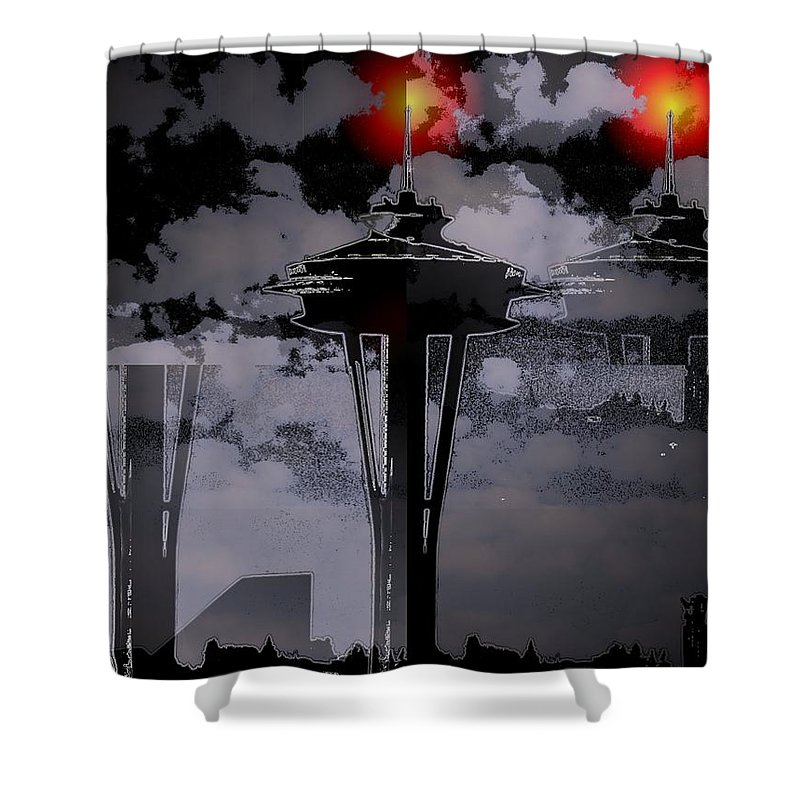 Seattle Shower Curtain featuring the digital art Needle In Flux by Tim Allen