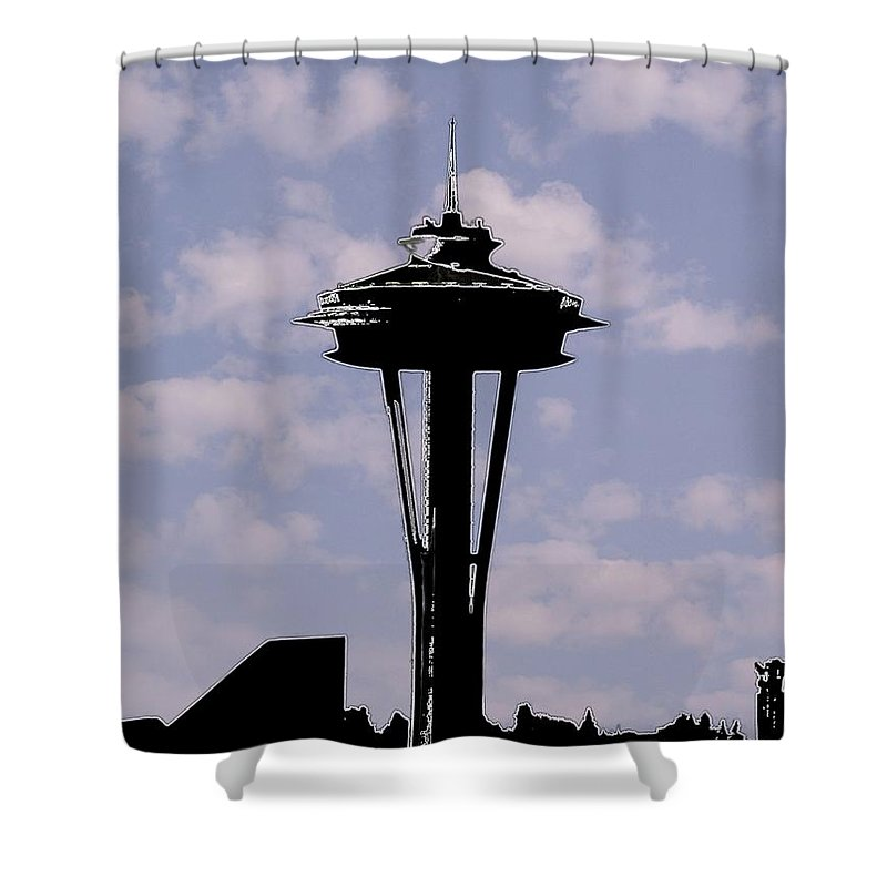 Seattle Shower Curtain featuring the digital art Needle In The Clouds by Tim Allen