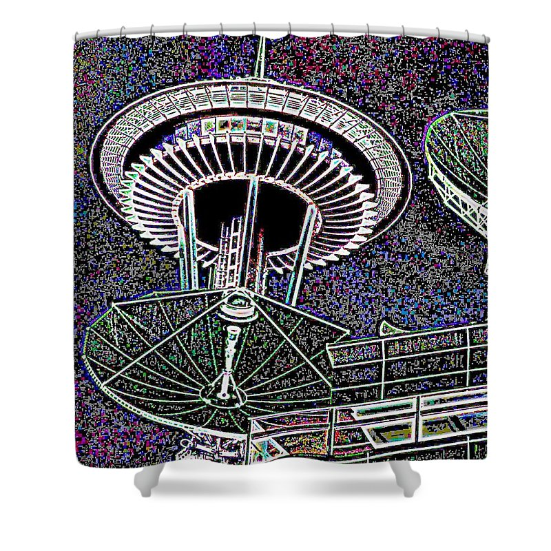 Seattle Shower Curtain featuring the digital art Needle Over Fisher Plaza by Tim Allen