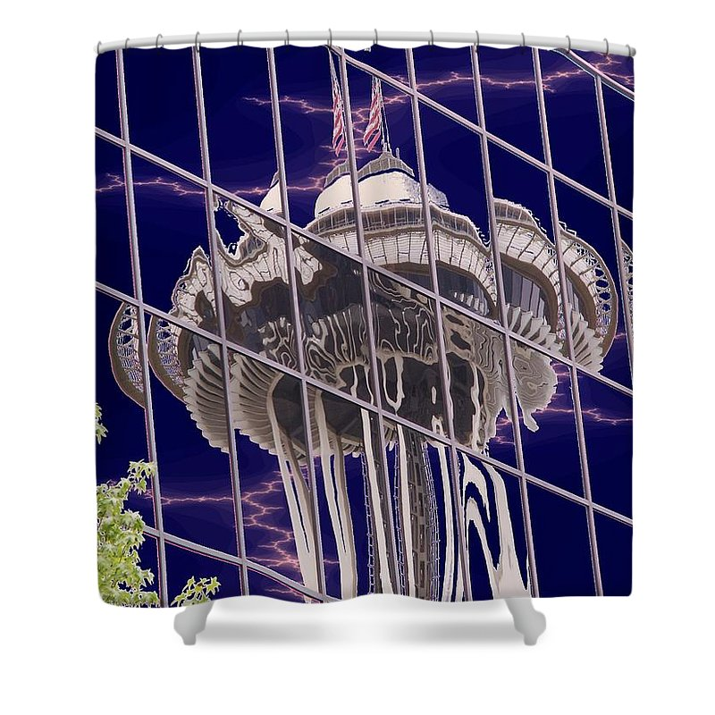 Seattle Shower Curtain featuring the digital art Needle Reflection by Tim Allen