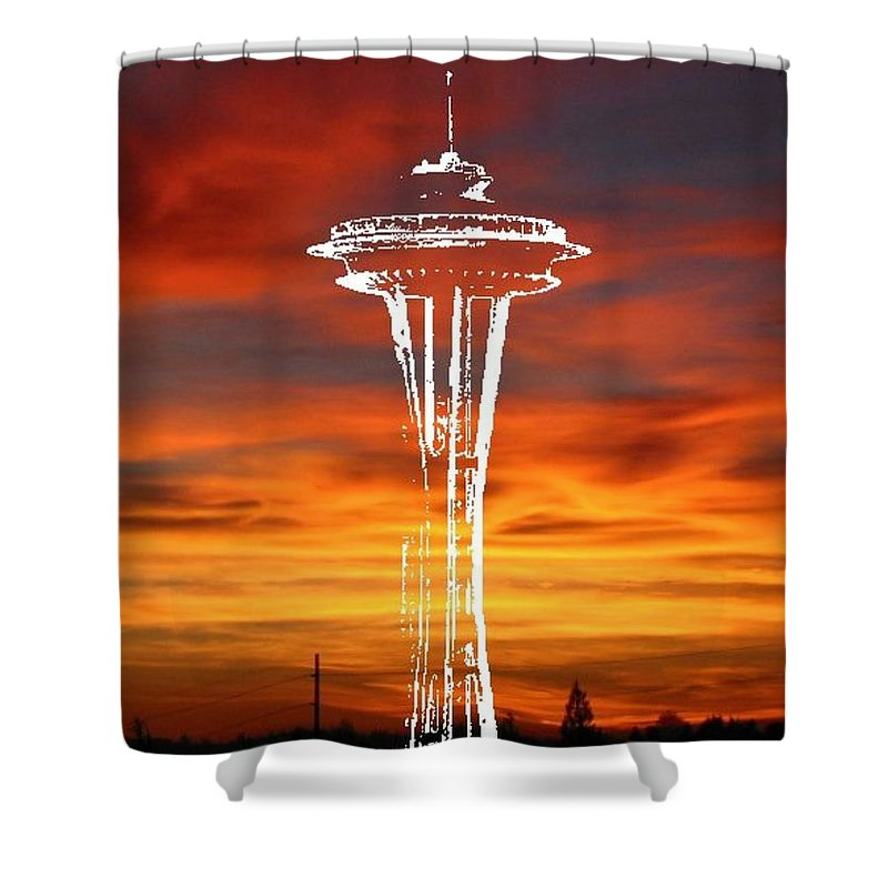 Seattle Shower Curtain featuring the digital art Needle Silhouette by Tim Allen