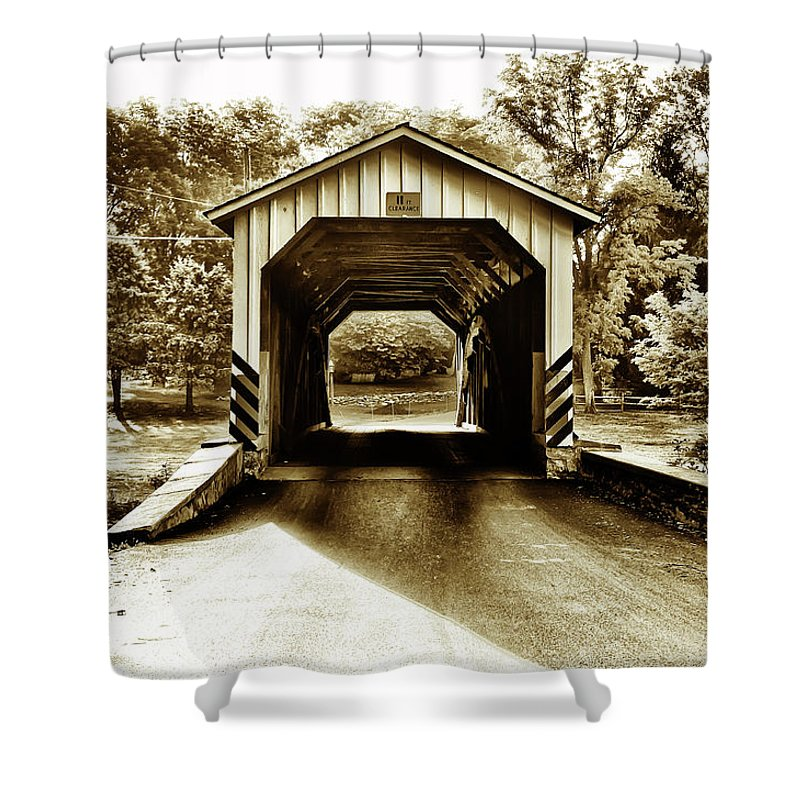 Neff's Shower Curtain featuring the photograph Neff's Mill Covered Bridge - Lancaster County Pa. by Bill Cannon