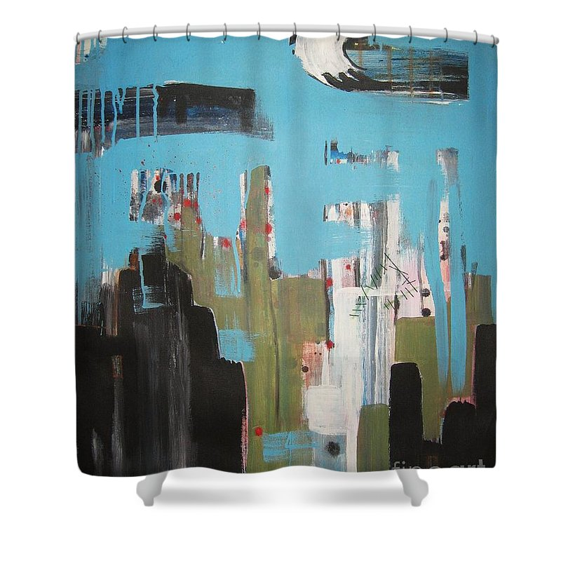 Abstract Paintings Shower Curtain featuring the painting Neglected Area by Seon-Jeong Kim