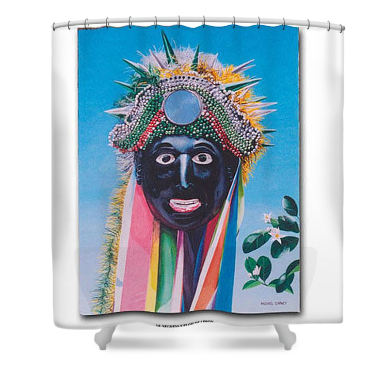 Michael Earney Shower Curtain featuring the painting Negrito Y Flor De Limon by Michael Earney