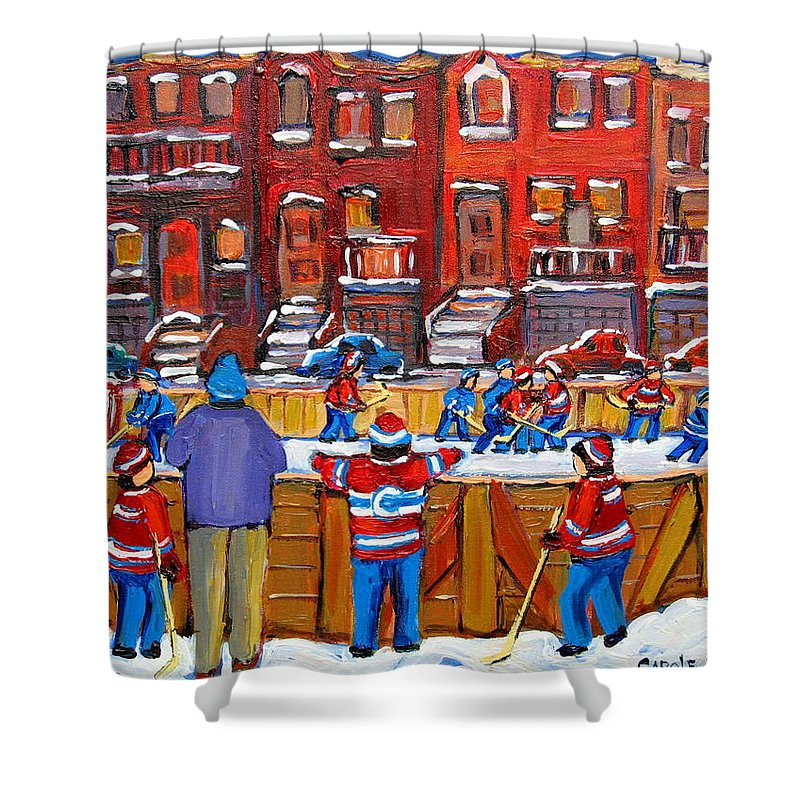 Hockeygame At The Neighborhood Rink Shower Curtain featuring the painting Neighborhood Hockey Rink by Carole Spandau