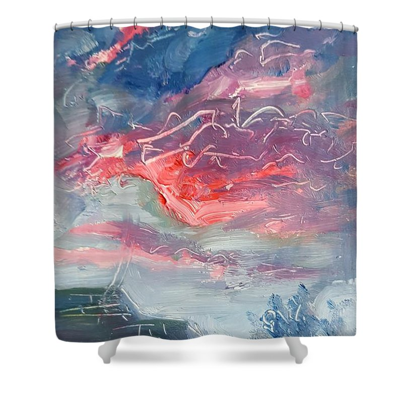 Sunset Shower Curtain featuring the painting Neighborhood Sunset by Andrew Ellingson