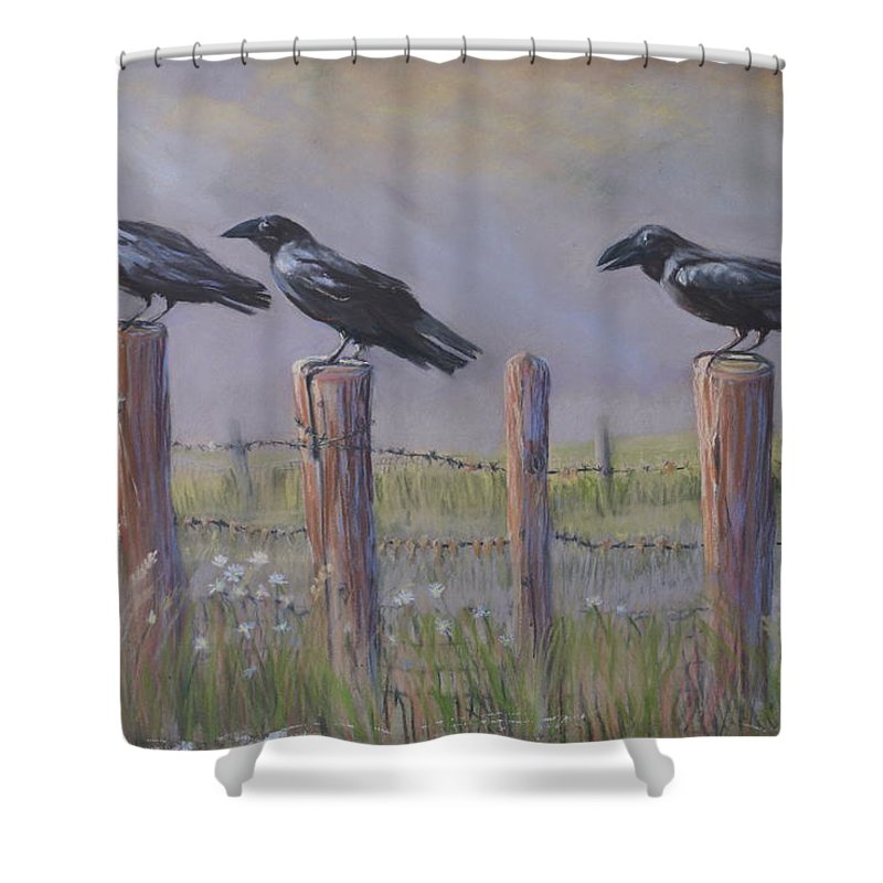 Crows Shower Curtain featuring the painting Neighborhood Watch by Heather Coen