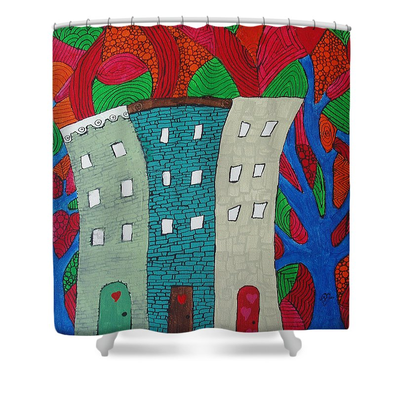 Houses Shower Curtain featuring the painting Neighbors by Wayne Potrafka