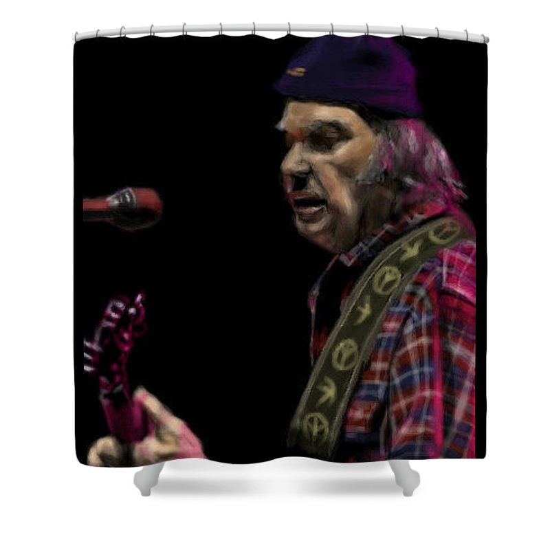 Realism Drawing Shower Curtain featuring the digital art Neil Young by Lori Wadleigh