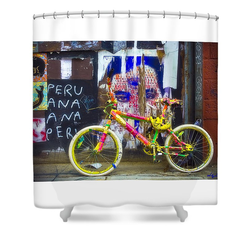Graffiti Shower Curtain featuring the photograph Neon Bike by William Alger