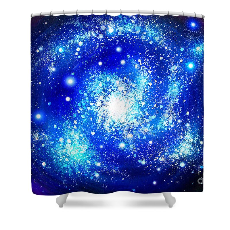 Blue Shower Curtain Featuring The Painting Neon Galaxy Bright Stars By Sofia Metal