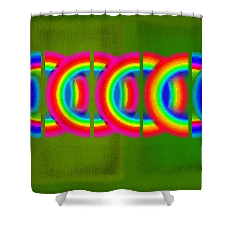 Abstract Shower Curtain featuring the painting Neon Chain by Charles Stuart