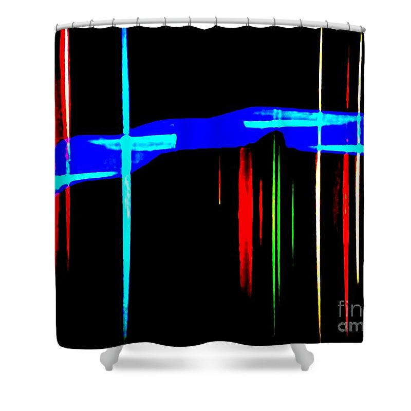 Nola Shower Curtain featuring the photograph New Orleans Neon Christmas Frequency Abstract 1 by Michael Hoard