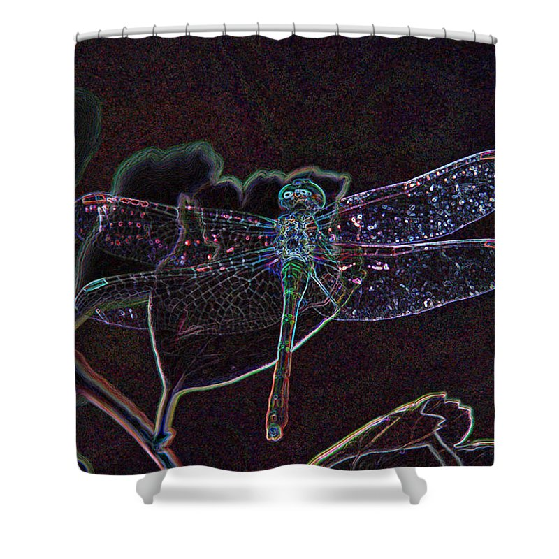 Digital Art Shower Curtain featuring the photograph Neon Dragon Fly by Don and Sheryl Cooper