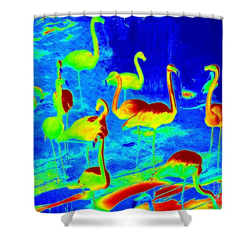 Digital Art Shower Curtain featuring the photograph Neon Flamingos by Carol Groenen
