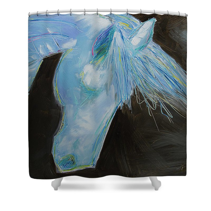 Horse Art Shower Curtain featuring the painting Neon Leon by Brenda Peo