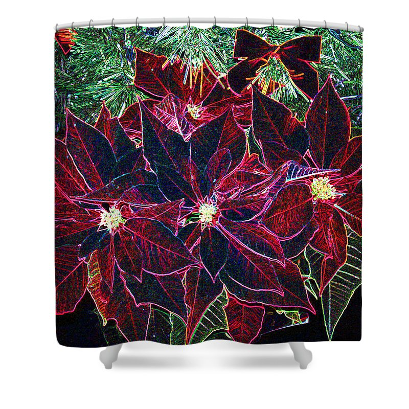Flowers Shower Curtain featuring the photograph Neon Poinsettias by Nancy Mueller