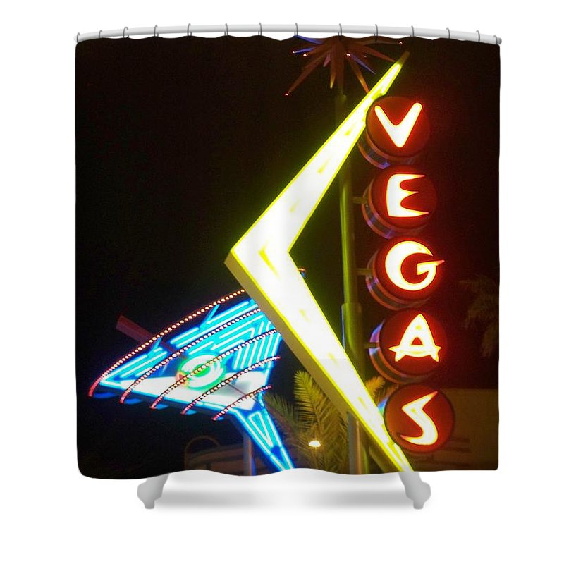 Fremont East Shower Curtain featuring the photograph Neon Signs 3 by Anita Burgermeister