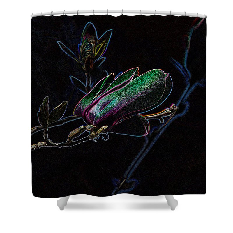 Tulip Tree Shower Curtain featuring the photograph Neon Tulip Tree 5090 by Ericamaxine Price