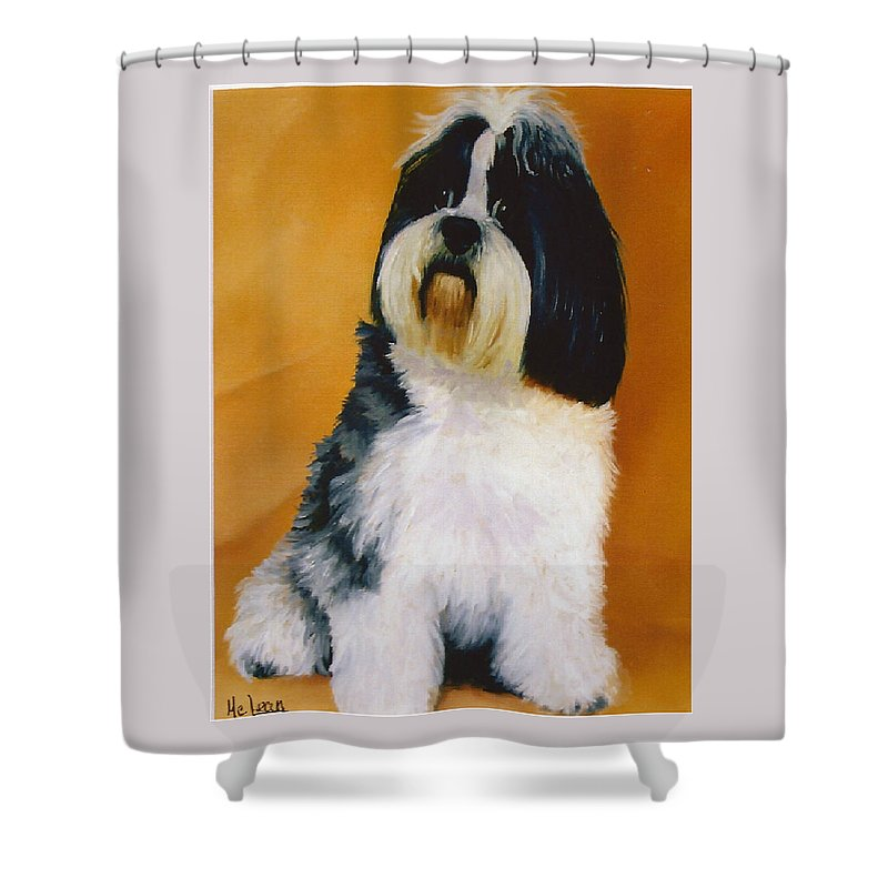 Dog Portrait Shower Curtain featuring the painting Nero by Fran Rittenhouse-McLean