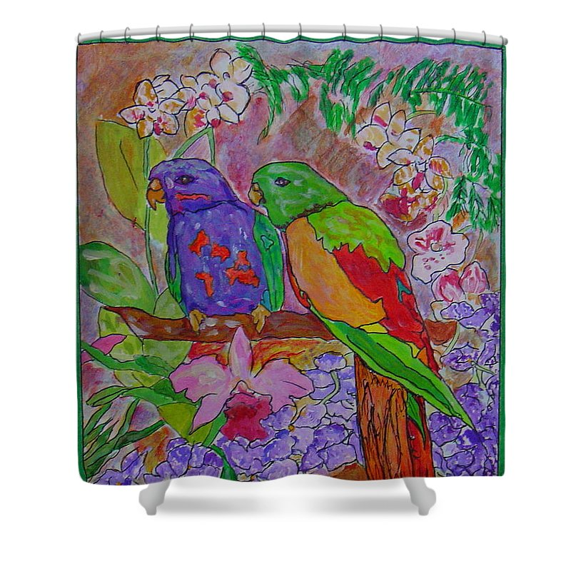 Tropical Pair Birds Parrots Original Illustration Leilaatkinson Shower Curtain featuring the painting Nesting by Leila Atkinson