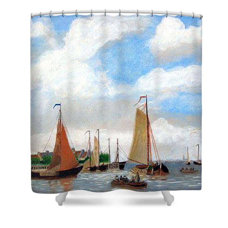 Netherlands Shower Curtain featuring the painting Netherland's Harbour by Richard Le Page