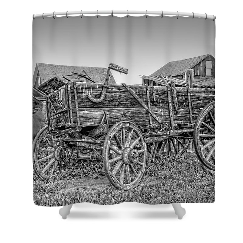 Wagon Shower Curtain featuring the photograph Nevada City Montana Freight Wagon by Daniel Hagerman