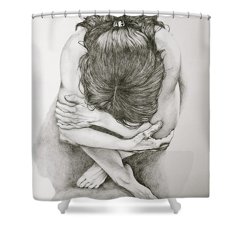 Figure Drawing Shower Curtain featuring the drawing Never Enough by Sarah Luginbill