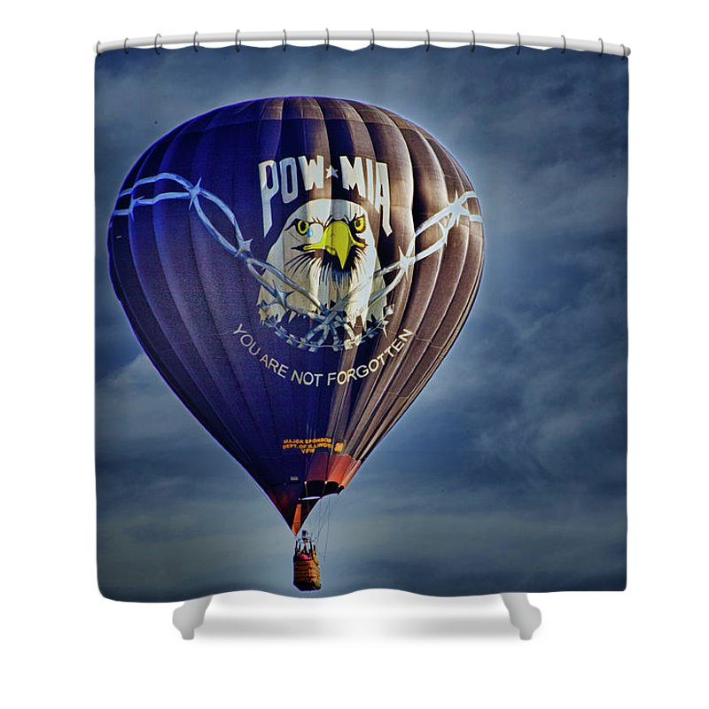 Hot Air Balloon Shower Curtain featuring the digital art Never Forget by Gary Baird