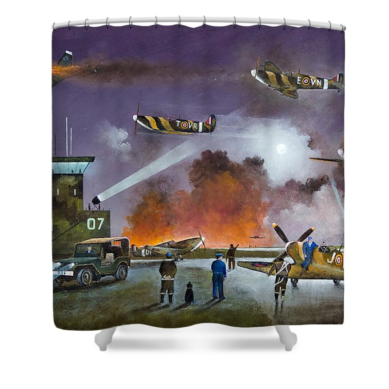 Spitfire Shower Curtain featuring the painting Never So Few by Ken Wood